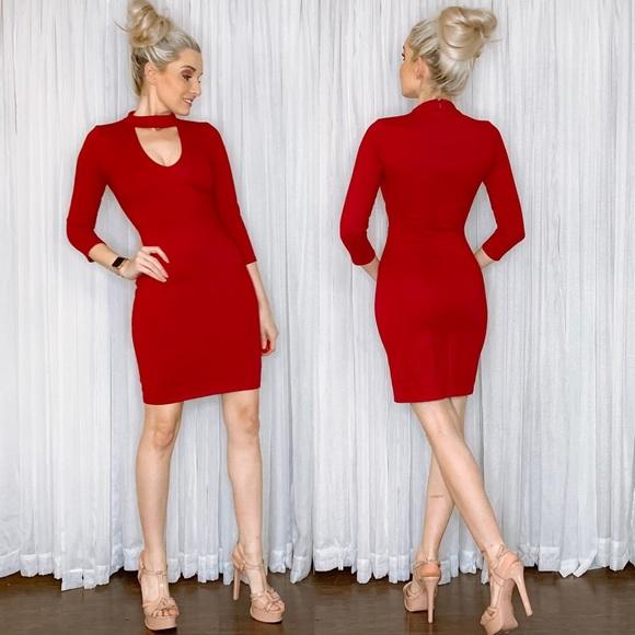 Lulu's Dresses & Skirts - Lulu Red Long Sleeve Fitted Date Night Mini Dress